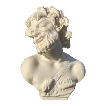 """Vintage Alabaster ELEGANZA LTD Signed """"Professor Guisseppe Bessi"""" Bust 11"""""""