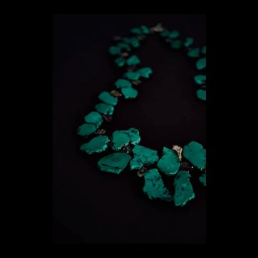 Chunky Turquoise and Abalone Statement Necklace