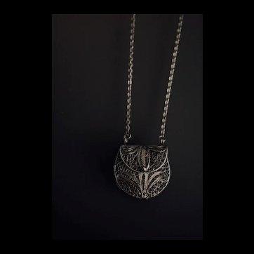 Long Mixed Metal Basket Locket Necklace
