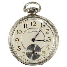 Vintage Waltham 14K White Gold Open Face Pocket Watch