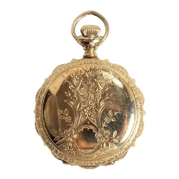 Vintage Elgin 14K Yellow Gold Ladies Hunting Case Pocket Watch