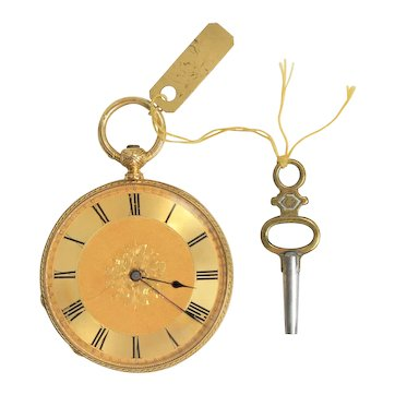 Vintage Swiss 18K Yellow Gold Open Face Pocket Watch, No Name