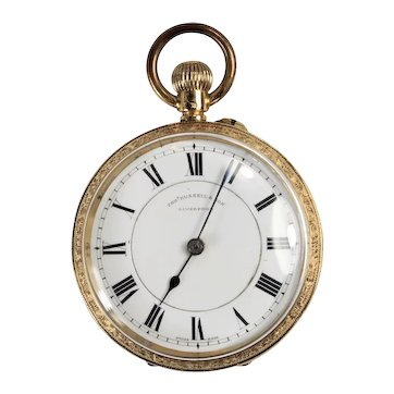 Vintage 18K Yellow Gold Tho Russell + Son, Liverpool Open Face Pocket Watch