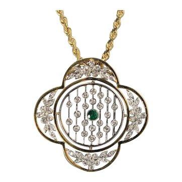 14K Art Deco style Emerald and Diamond Necklace
