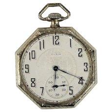 14K White Gold, Vintage, Art Deco Style, Elgin Open Face Pocket Watch,