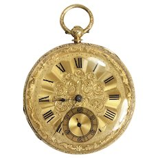 Vintage Brant Geneve 18K Yellow Gold, Key Wind Pocket Watch