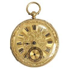 Vintage Brant Geneve 18K Yellow Gold, Key Wind Pocket Watch