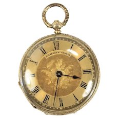 Vintage C. Tanner Geneve 18K Yellow Gold Open Face Ladies Pocket Watch