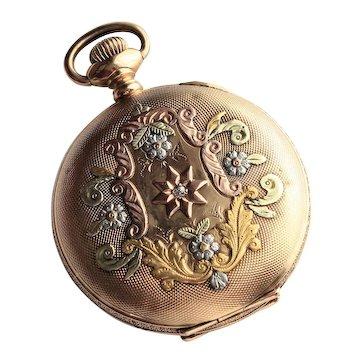 Vintage American Waltham Ladies 14K Yellow Gold Hunter Case Pocket Watch