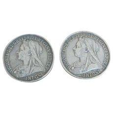 Set of 2 Victorian Coins - 1897 LX Crown Victoria Silver Coin and 1893 LVI Crown Victoria Silver Coin