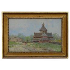 Adam Setkowicz  - Orthodox church, oils on canvas stuck on cardboard, 21 x 30 cm. Adam Setkowicz (born on December 4, 1875 in Krakow , died on October 24, 1945 there) - Polish painter .