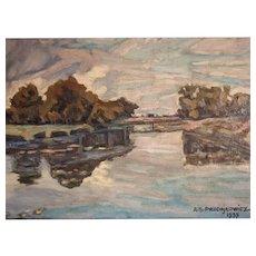 ANTONI STANISŁAW PROCAJŁOWICZ (1876 - 1949), vintage painting, oils on board, A.S. Procajlowicz 1937, measuring 43 x 34 cm including frame.