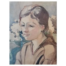Uknown author, watercolours on paper, portrait dated 1819, measuring 28 x 32 cm including frame.