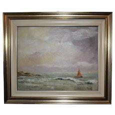 Tristano Trombetti - Italian - fine vintage painting oil on board 'Seascape'