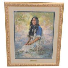 Rare Howard Terpning WOMAN OF THE SIOUX limited 393 COA Custom Framed TruGuard