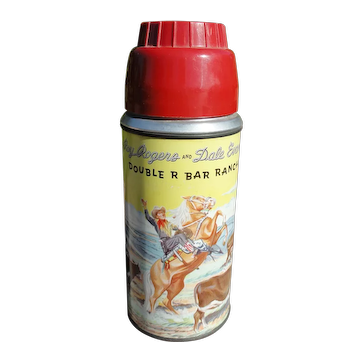 Rare 1957 Yellow Sky American Thermos 2077 ROY ROGERS Dale Evans Polly Red Top