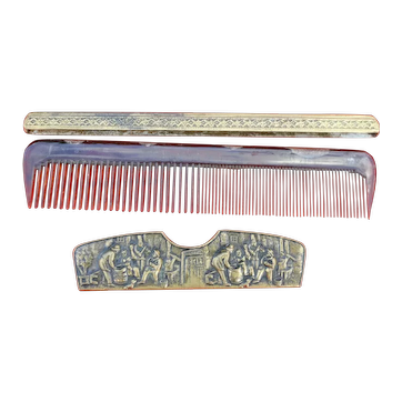 Rare Brass Bronze Lucite Vanity Comb w Ornate Embossed Case and Holder