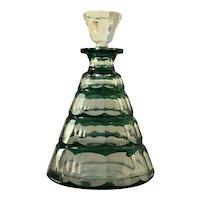 Val St Lambert Art Deco Emerald Green Cut Glass Decanter 1930s