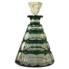 Val St Lambert Art Deco Emerald Green Cut Glass Decanter 1930s