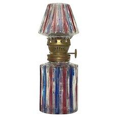 Vintage Glass Student Oil Lamp Cranberry Cobalt Stripe Home Decor