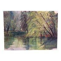 Vintage Original Watercolour Landscape trees lake signed