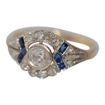Vintage Art Deco Diamond Sapphire 15ct Gold Platinum Ring Engagement size L UK 6 USA   51 1/2 EU