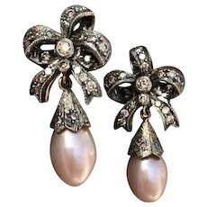 Vintage 18k Gold Diamond Pearl Drop Earrings