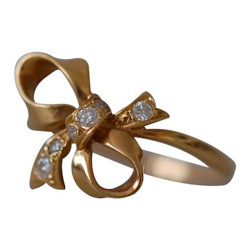 Vintage 18ct Yellow Gold Diamond Ribbon Bow Ring Size L  UK 6 USA 51 1/2 EU  1980s Sheffield Hallmark