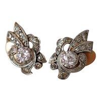 Vintage Art Deco 18k Gold Diamond Repousse Clip Earrings