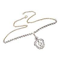 Antique Late Victorian 18k Gold Diamond Pendant Necklace