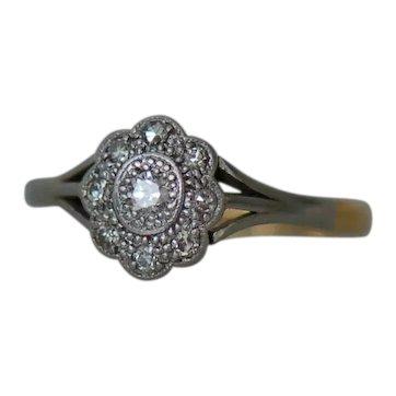 Vintage Art Deco Platinum 18ct Yellow Gold Diamond Flower Floral Halo Cluster Ring sz M (UK) 52 1/2 (EU) 6 1/2 (US)