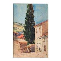 Vintage Original Watercolour Italian Village Landscape Painting