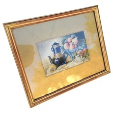 Antique Pair Still Life Paintings Framed Early 20th C