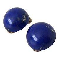 Vintage 9k Gold Lapis Lazuli clip on earrings non-pierced