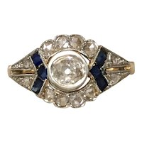Art Deco Gold Platinum Diamond Sapphire Ring 1 carat