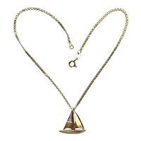 Vintage 18k Gold Anklet Chain Yacht Diamond Pendant