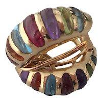 Vintage 14k Multi Gem Half Hoop Omega Clip Earrings Amethyst Citrine Peridot Garnet Topaz