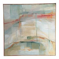 Vintage Abstract Painting Oil on Canvas Framed 24 x 24 inch Mid Century
