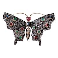 Antique Ruby Emerald Sapphire Diamond 18k Gold Butterfly Brooch