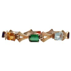 Art Deco 18k Gold Multi Gem Bracelet 28 carats