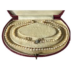 Vintage Natural Pearl Necklace 14ct Gold Diamond Clasp Saltwater 46cm Pearls 3 - 5.2mm Certified