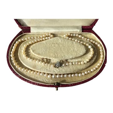 Vintage Natural Saltwater Pearl Necklace 14ct Gold Diamond Clasp 46cm Pearls 3 - 5.2mm