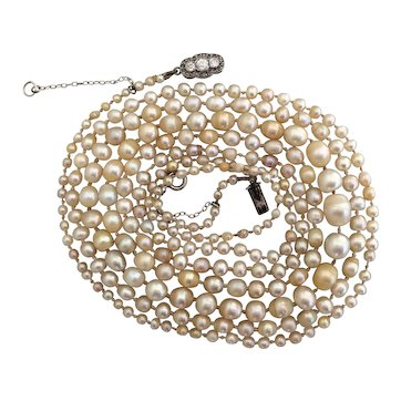Vintage Natural Saltwater Pearl 18ct White Gold Diamond 0.40ct Necklace Certified 111cm (43.7 inch) Two Row