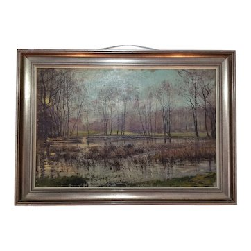 Vintage Original Oil Painting Evening Winter Wetland Woods Landscape Framed Signed Schneider 21.8 x 14.2 inches
