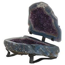 Large Amethyst Agate Geode Polished Stone Specimen