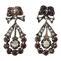 Antique Pyrope Garnet Diamond Pendeloque Day Night Dangle Earrings