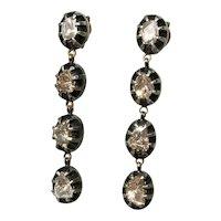 Vintage 18k Gold Diamond Dangle Earrings MCM