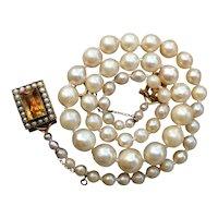 Vintage Cultured Saltwater Pearl Antique 9ct Gold Citrine Necklace