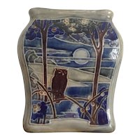 Vintage Royal Doulton Lambeth Stoneware Vase Owl Moon Wood Lake Sun Birds 1922-1927 EB