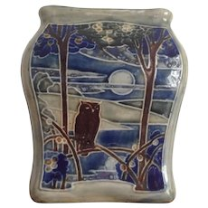 Vintage Royal Doulton Lambeth Stoneware Vase Owl Moon Wood Lake Sun Birds 1922-1927 EB